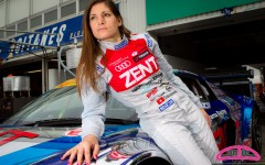 Cyndie Allemann poses with her new driver suit for the Super GT 2012 season