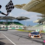 Cyndie Allemann in the Craft Eurasia Racing Ginetta G50Z GT3 takes the checkered flag to win the race