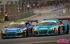 GT300 start: Cyndie Allemann in the Hitotsuyama Racing Audi R8 LMS battle with #30 APR Audi R8 LMS Ultra