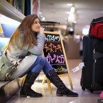 Cyndie Allemann at Narita Airport, Tokyo