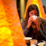Cyndie Allemann enjoys a Japanese breakfast in Tokyo