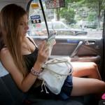 Cyndie Allemann rides in a Tokyo cab