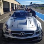 Cyndie Allemann at work with the Mercedes-Benz SLS AMG GT3