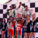 Podium: race winner Cyndie Allemann celebrates