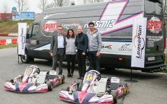 Patrick Weibel, Cyndie Allemann, Brit Schönenberger and Ken Allemann (from right to left) at the vehicle presentation at the kart track in Wohlen.